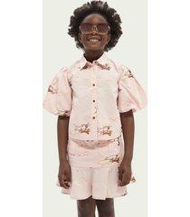scotch & soda balloon-sleeved organic cotton blouse