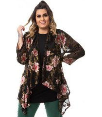 kimono floral em tule e renda em veludo plus size feminino