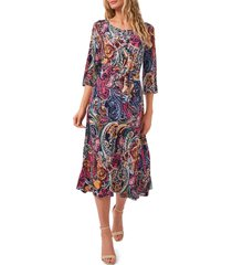 chaus belted split sleeve midi dress, size medium in navy/mauve/blue at nordstrom