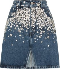 miu miu crystal-embellished mini skirt - blue