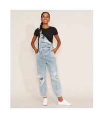 macacão jeans feminino baggy destroyed marmorizado azul claro