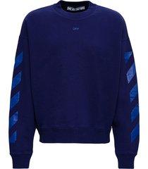 off-white blue cotton sweatshirt with arrow skate print