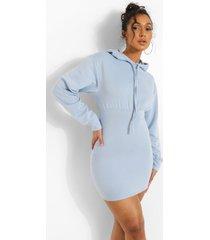 getailleerde hoodie jurk, dusty blue