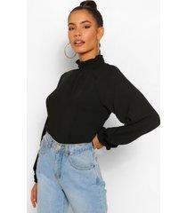 hammered matte satin high neck blouse, black