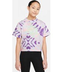 nike big girls sportswear tie-dyed t-shirt