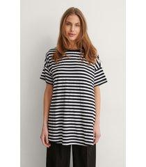 trendyol lång randig t-shirt - black