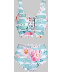 scalloped lace up stripes floral tankini swimwear