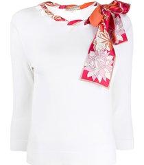 emilio pucci silk scarf embellished shirt - white