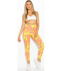 bright tie dye high waist ribbed leggings, yellow
