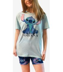 disney stitch t-shirt and biker short 2pc pajama set