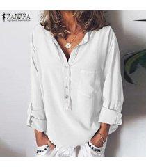 zanzea mujeres botones camisa casual tops llano elegante blusa de las señoras más del tamaño -blanco