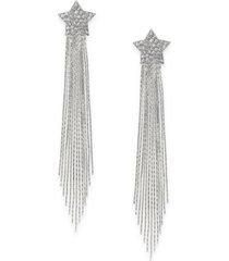 thalia sodi silver-tone pave star herringbone linear tassel drop earrings, created for macy's