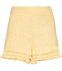 she made me ruffled crochet-knit shorts - yellow