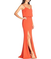 women's dress the population gracelyn blouson jersey gown, size large - orange