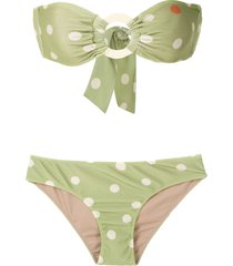 adriana degreas printed strapless bikini set - green
