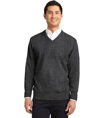 port authority sw300 men's v-neck sweater - charcoal grey