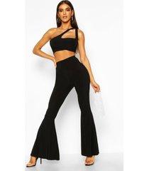 basic skinny uitlopende broek met hoge taille, zwart