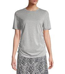elie tahari women's laon ruched t-shirt - grey metallic - size m