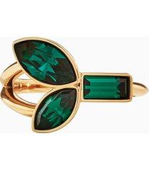 anello bamboo, verde, placcato color oro