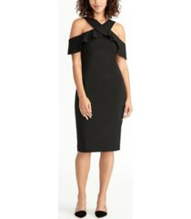 rachel rachel roy cold shoulder ruffle halter dress