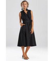 natori cotton poplin mandarin sleeveless dress, women's, black, size l natori