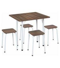 conjunto de mesa de cozinha com 4 bancos | banquetas nádia marrom e branco