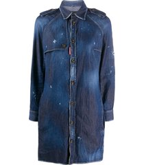 dsquared2 distressed finish button front shirt dress - blue