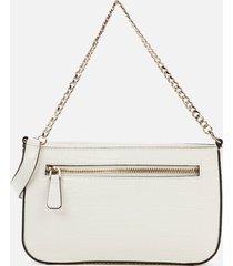guess women's katey mini top zip shoulder bag - chalk