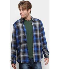 camisa ellus high rayon xadrez manga longa masculina