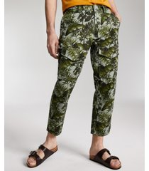 sun + stone men's bleeker regular-fit palm-print cropped cargo pants