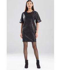 natori prism faux leather t-shirt dress, women's, size l