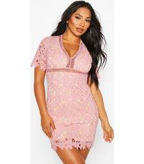mini-jurk met korte mouwen en gehaakt kant, rose