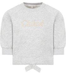 chloé grey sweatshirt for girl with logo