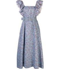 nicholas vestido com cinto e estampa thyme - azul