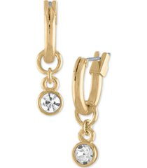 rachel rachel roy gold-tone crystal charm huggie hoop earrings