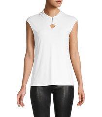 calvin klein women's pleated-neck top - soft white - size m