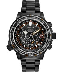 citizen eco-drive men's chronograph promaster satellite wave gps black stainless steel & titanium bracelet watch 47mm - a special 30th anniversary edition