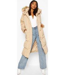 tall lange gewatteerde jas met faux fur capuchon, karamel