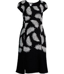 palm-print cap-sleeve sheath dress