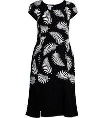 palm-print cap-sleeve sheath dress