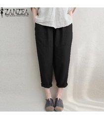 zanzea pantalones de lino de algodón bolsillos laterales de cintura elástica pantalones largos sólidos -negro