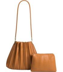 melie bianco carrie pleated vegan leather shoulder bag