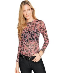 camiseta adulto femenino estampado de flores marketing  personal