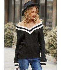 suéter de manga larga con cuello en v a rayas yoins