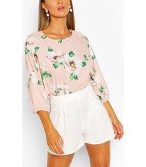 bloemenprint blouse met vleermuismouwen, blush