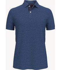 tommy hilfiger men's essential knit polo sweater blue heather - xxxl