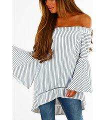 white hollow diseño rayas patrón blusas de manga larga con hombros descubiertos