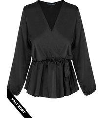 satijnen overslag blouse zwart