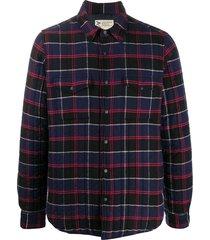 aspesi check print quilted shirt jacket - blue