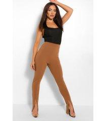 strakke long line broek met split, kameel
